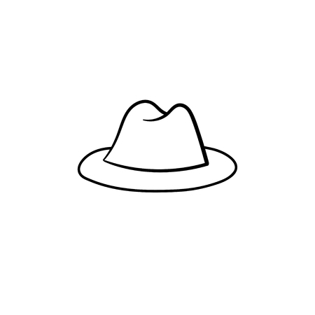 Fedora hat hand drawn outline doodle icon. Accessory - classic trilby hat vector sketch illustration for print, web, mobile and infographics isolated on white background.