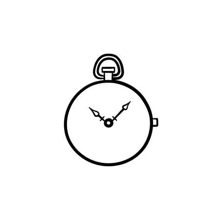 Pocket watch hand drawn outline doodle icon. Vector sketch illustration of pocket watch for print, web, mobile and infographics isolated on white background. Vectores