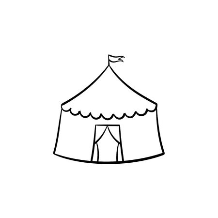 Vector hand drawn Circus tent outline doodle icon. Marquee sketch illustration for print, web, mobile and infographics isolated on white background. Vettoriali