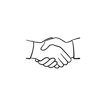Handshake hand drawn outline doodle icon. Sketch illustration of handshake for print, web, mobile and infographics isolated on white background. Business deal, team and cooperation concept. Stock Illustratie