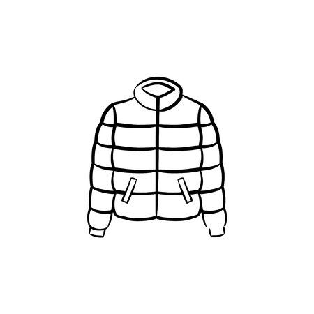 Down feather jacket hand drawn outline doodle icon. Outerwear - down feather jacket vector sketch illustration for print, web, mobile and infographics isolated on white background.