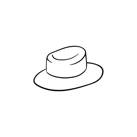 Straw women panama hand drawn outline doodle icon. Sun hat vector sketch illustration for print, web, mobile and infographics isolated on white background. Stock fotó - 100000324