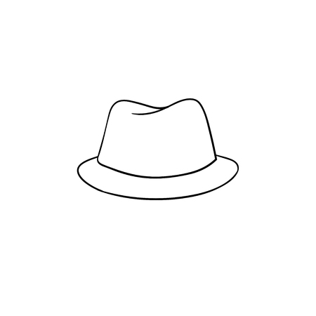 77689a2379c Fedora hat hand drawn outline doodle icon. Accessory - classic trilby hat  vector sketch illustration