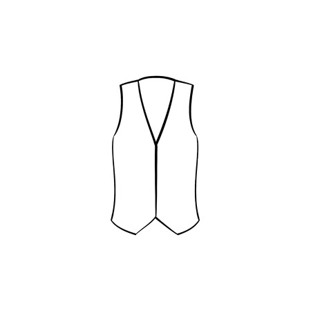 Waistcoat line icon isolated on white background. Vector line icon of suit waistcoat for infographic, website or app.