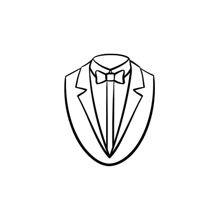 Smoking suit hand drawn outline doodle icon. Tuxedo vector sketch illustration for print, web, mobile and infographics isolated on white background.