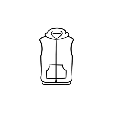 Vest jacket hand drawn outline doodle icon. Sleeveless sweater vector sketch illustration for print, web, mobile and infographics isolated on white background. 矢量图像