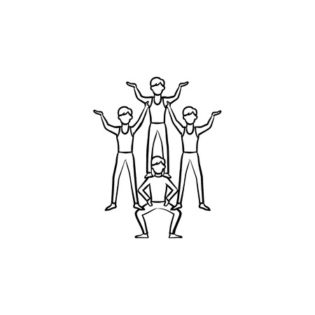 Circus artists making a human pyramid hand drawn outline doodle icon. Circus performers making a trick vector sketch illustration for print, web, mobile and infographics isolated on white background. Illustration