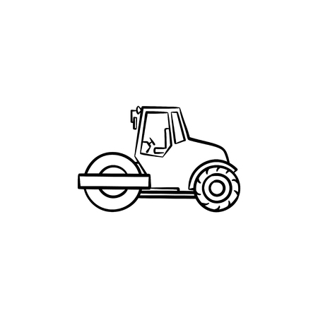Steamroller hand drawn outline doodle icon. Construction machinery - steamroller vector sketch illustration for print, web, mobile and infographics isolated on white background.