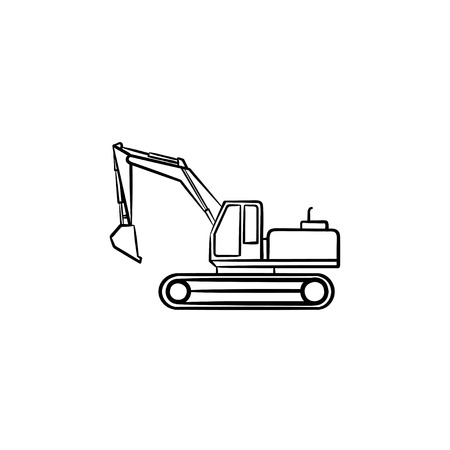 Excavator with moving backhoe hand drawn outline doodle icon. Buldozer vector sketch illustration for print, web, mobile isolated on white background. Construction industry and machinery concept. Ilustrace