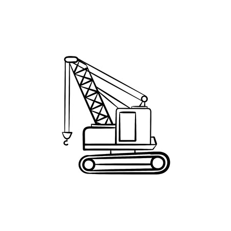 Lifting crane hand drawn outline doodle icon. Construction industry vector sketch illustration with lifting crane for print, web, mobile and infographics isolated on white background. Illustration