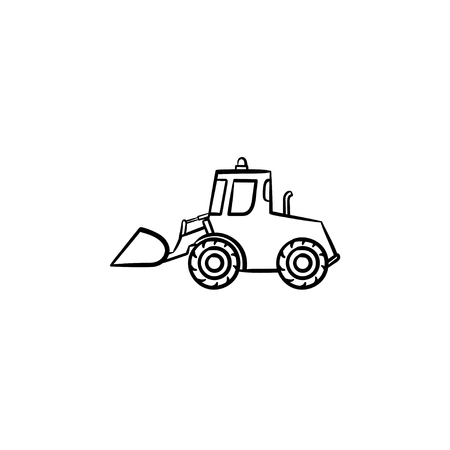 Excavator with moving backhoe hand drawn outline doodle icon. Buldozer vector sketch illustration for print, web, mobile isolated on white background. Construction industry and machinery concept. Vettoriali