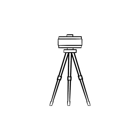 Theodolite on tripod hand drawn outline doodle icon. Surveyor equipment - theodolite vector sketch illustration for print, web, mobile and infographics isolated on white background. Surveying concept.