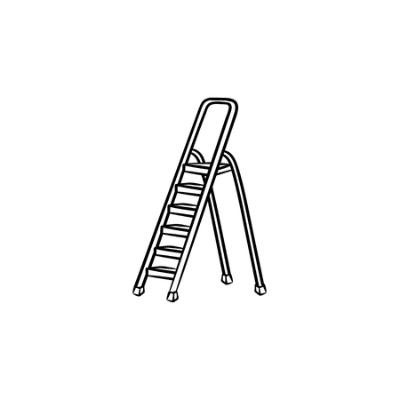 Stepladder hand drawn outline doodle icon. Vector sketch illustration of construction step ladder for print, web, mobile and infographics isolated on white background. Illustration