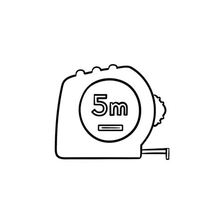 Tape measure hand drawn outline doodle icon. Vector sketch illustration with construction equipment - tape measure for print, web, mobile and infographics isolated on white background.
