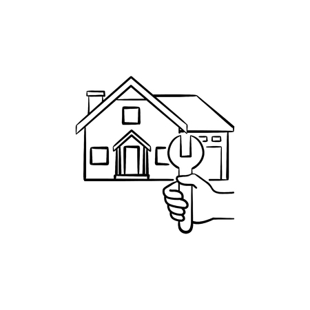 House repair hand drawn outline doodle icon. Vector sketch illustration of engineer wrench and a house for print, web, mobile and infographics isolated on white background.