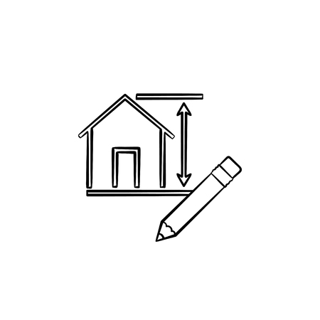 House design hand drawn outline doodle icon. Pencil for engineering of house design vector sketch illustration for print, web, mobile and infographics isolated on white background.