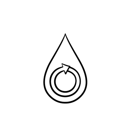 Water drop hand drawn outline doodle icon. Circular arrow into a water drop vector sketch illustration for print, web, mobile and infographics isolated on white background. Illusztráció