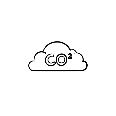 CO2 cloud hand drawn outline doodle icon. Air pollution concept. Carbon Dioxide formula on cloud vector graphic sketch illustration for print, web, mobile and infographics isolated on white background