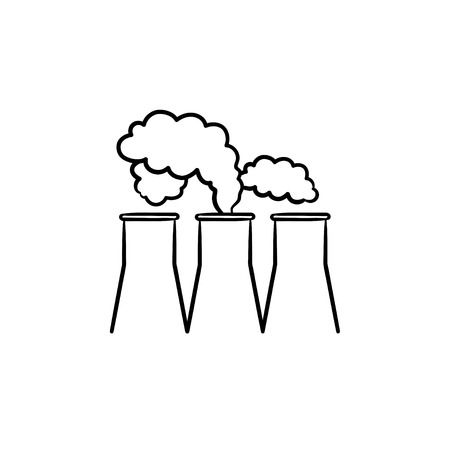 Factory hand drawn outline doodle icon. Water cooling towers of industrial factory vector sketch illustration for print, web, mobile and infographics isolated on white background.