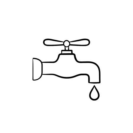 Water pipe with clean drop hand drawn outline doodle icon. Water drop falling from the pipe vector sketch illustration for print, web, mobile and infographics isolated on white background. 일러스트