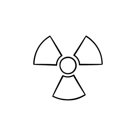 Icono de doodle de contorno dibujado de mano de signo radiactivo. Signo de hélice que simboliza la ilustración de esbozo de vector de contaminación radiactiva para impresión, web, móvil e infografía aislado sobre fondo blanco. Ilustración de vector