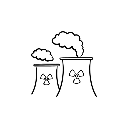 Nuclear power plant with smoke hand drawn doodle icon. Pollution of environment due to nuclear power plant vector sketch illustration for print, mobile and infographics isolated on white background.