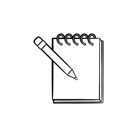 Pencil and notepad with binders hand drawn outline doodle icon. Taking notes in notepad vector sketch illustration for print, web, mobile and infographics isolated on white background.