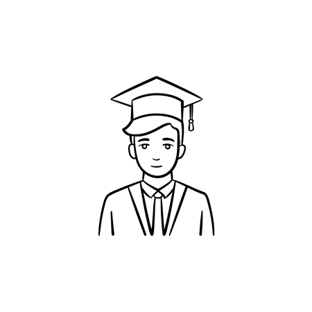 Graduate student hand drawn outline doodle icon. Student wearing graduation cloak and cap vector sketch illustration for print, web, mobile and infographics isolated on white background.