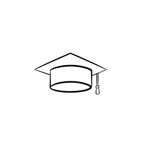 Graduation cap hand drawn outline doodle icon. Vector sketch illustration of graduation hat for print, web, mobile and infographics isolated on white background.