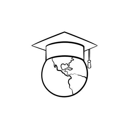 Globe in graduation cap hand drawn outline doodle icon. Graduation hat on the world globe vector sketch illustration for print, web, mobile and infographics isolated on white background.