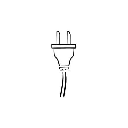 Electric plug hand drawn outline doodle icon. 矢量图像