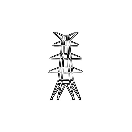 Electric tower hand drawn outline doodle icon. Power lines pylon vector sketch illustration for print, web, mobile and infographics isolated on white background.
