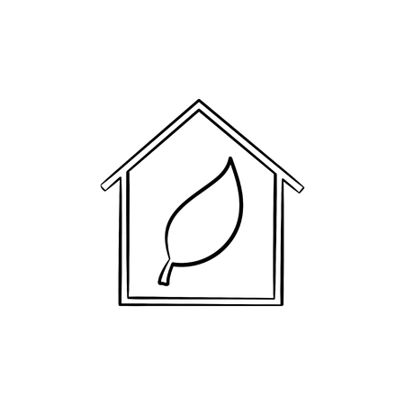 Ecology friendly house with leaf hand drawn outline doodle icon. Leaf into a green eco house vector sketch illustration for print, web, mobile isolated on white background. Ecology sustain concept.