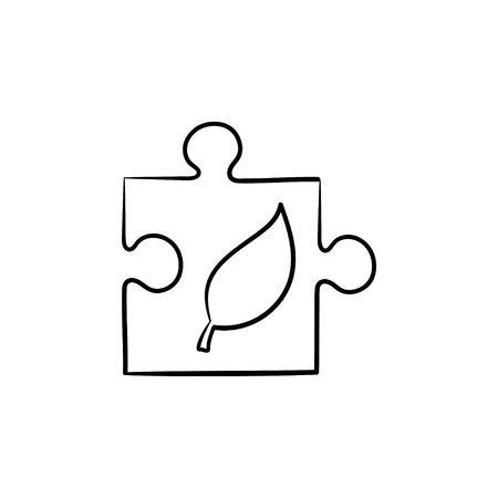 Puzzle piece hand drawn outline doodle icon. Ecological responsibility concept. Vector sketch illustration of piece of puzzle for print, web, mobile and infographics isolated on white background.