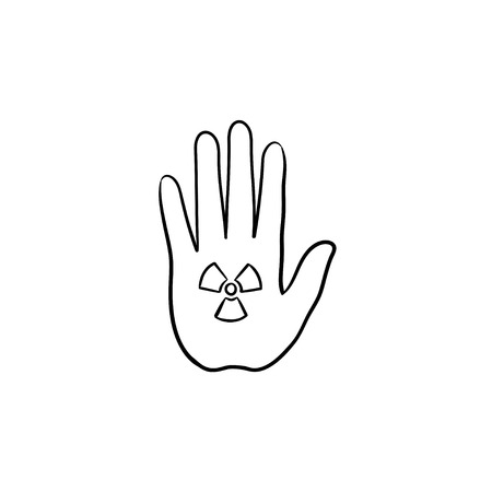 Stop Hand Sign With Ionizing Radiation Symbol Hand Drawn Doodle