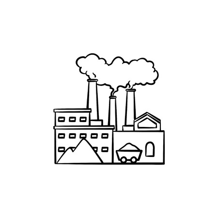 Factory hand drawn outline doodle icon. Ecology pollution concept. Manufacturing factory with smoke pipes vector sketch illustration for print, web, mobile and infographic isolated on white background