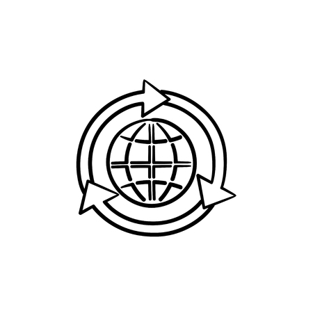 Globe in arrows hand drawn outline doodle icon. Green ecology concept. Arrows rotating around globe vector sketch illustration for print, web, mobile and infographics isolated on white background. Illusztráció
