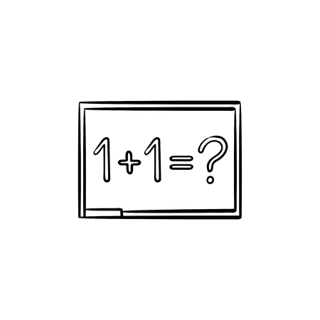 Blackboard with math task hand drawn outline doodle icon. One plus one equation on the blackboard vector sketch illustration for print, web, mobile and infographics isolated on white background. Illustration