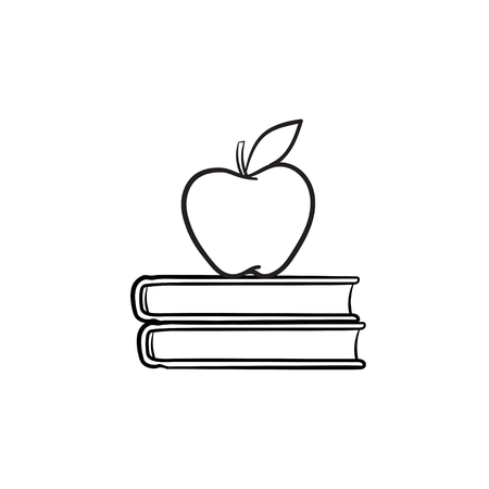 Text books and apple hand drawn outline doodle icon. Apple lying on study books vector sketch illustration for print, web, mobile and infographics isolated on white background. Illustration