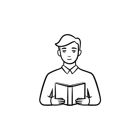 Student reading a book hand drawn outline doodle icon. Man with a book in hands vector sketch illustration for print, web, mobile and infographics isolated on white background. 向量圖像