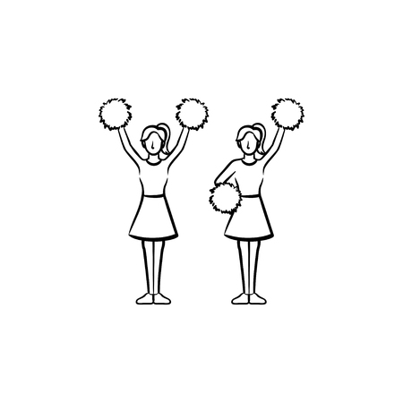 Cheerleader women with pom-pom hand drawn outline doodle icon. Girls cheer leaders vector sketch illustration for print, web, mobile and infographics isolated on white background. Stock Vector - 100015951