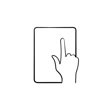 Online education app hand drawn outline doodle icon. Tablet computer with online education application on the screen vector sketch illustration for print, web, mobile and infographics. Illustration