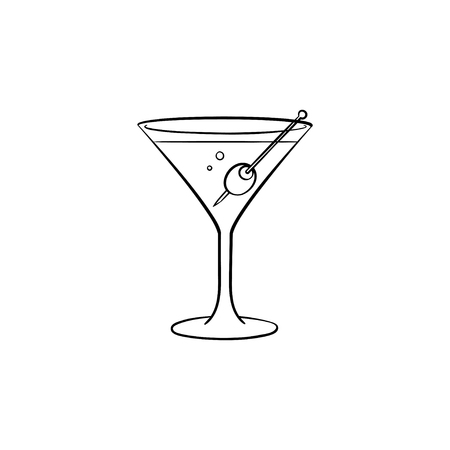 Liquor hand drawn outline doodle icon. Vector sketch illustration of martini liquor with olive for print, web, mobile and infographics isolated on white background.