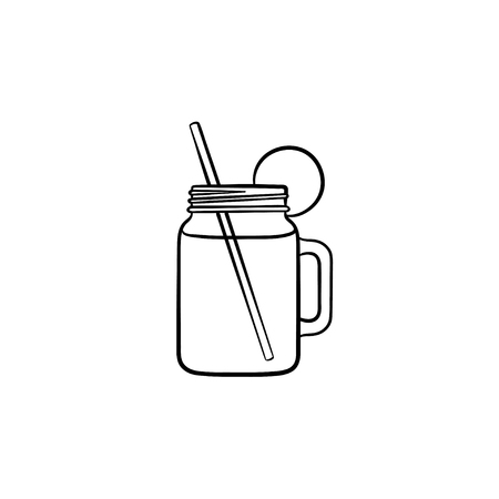 Glass jars of fresh detox cocktail hand drawn outline doodle icon. Refreshing smoothie drink with lemon slice and drinking straw vector sketch illustration for print, web, mobile and infographics. Stock Illustratie
