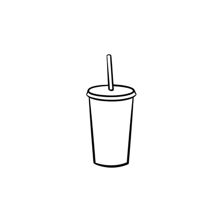 Plastic cup of soda pop hand drawn outline doodle icon. Takeaway soda pop vector sketch illustration for print, web, mobile and infographics isolated on white background. Vectores