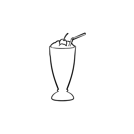 Milk cocktail with a maraschino cherry and straw in tall glass hand drawn outline doodle icon. Glass of milkshake with whipped cream vector sketch illustration for print, web, mobile and infographics. Illustration
