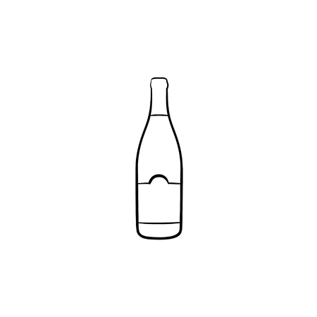 Wine bottle hand drawn outline doodle icon. Vector sketch illustration of champagne bottle of wine for print, web, mobile and infographics isolated on white background. Illustration