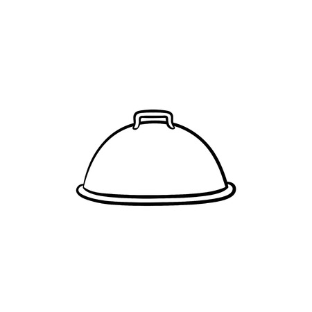 Cloche with platter for serve hand drawn outline doodle icon. Covered dish vector sketch illustration for print, web, mobile and infographics isolated on white background.