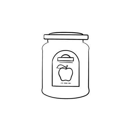 Apple jam in a glass jar hand drawn outline doodle icon. Closed glass jar of apple jam vector sketch illustration for print, web, mobile and infographics isolated on white background. Banco de Imagens - 100015993