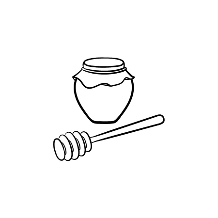 Honey in a glass jar with wooden spoon hand drawn outline doodle icon. Glass jar full of honey and stick line icon for infographic, website or app.